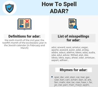 adar, spellcheck adar, how to spell adar, how do you spell adar, correct spelling for adar