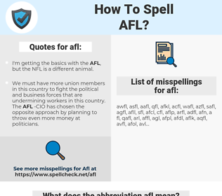 afl, spellcheck afl, how to spell afl, how do you spell afl, correct spelling for afl