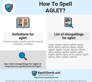 aglet, spellcheck aglet, how to spell aglet, how do you spell aglet, correct spelling for aglet