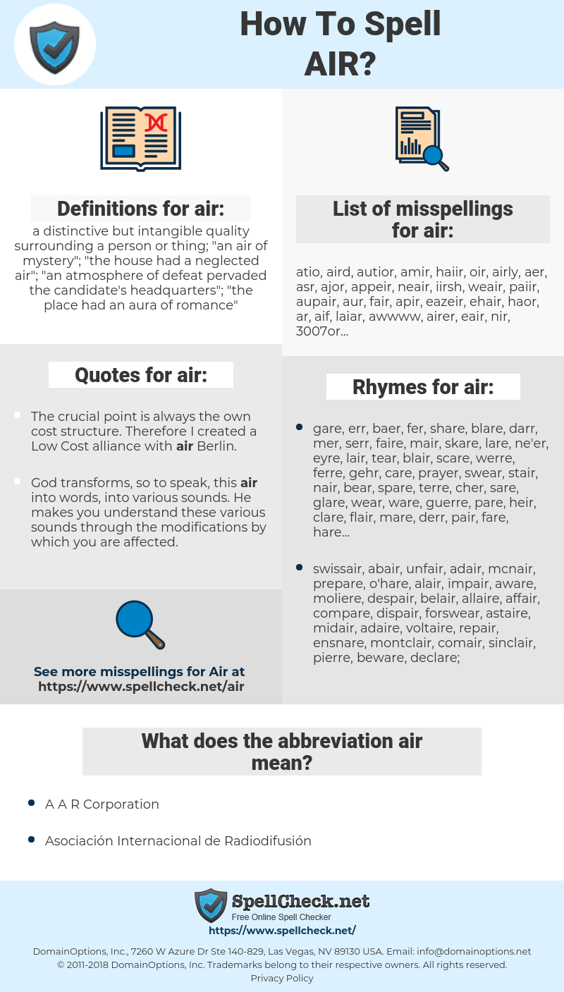 air, spellcheck air, how to spell air, how do you spell air, correct spelling for air