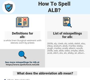 alb, spellcheck alb, how to spell alb, how do you spell alb, correct spelling for alb