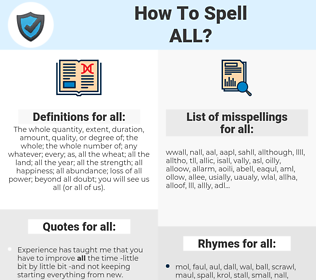 all, spellcheck all, how to spell all, how do you spell all, correct spelling for all