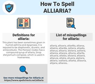 alliaria, spellcheck alliaria, how to spell alliaria, how do you spell alliaria, correct spelling for alliaria