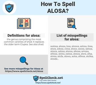 alosa, spellcheck alosa, how to spell alosa, how do you spell alosa, correct spelling for alosa