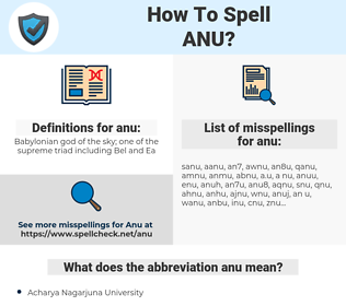 anu, spellcheck anu, how to spell anu, how do you spell anu, correct spelling for anu