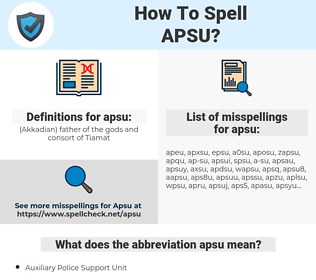 apsu, spellcheck apsu, how to spell apsu, how do you spell apsu, correct spelling for apsu