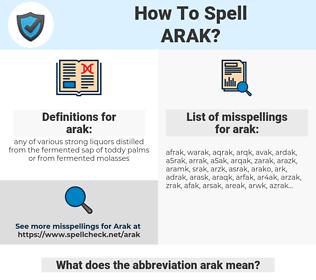 arak, spellcheck arak, how to spell arak, how do you spell arak, correct spelling for arak