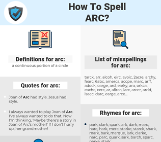 arc, spellcheck arc, how to spell arc, how do you spell arc, correct spelling for arc