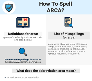 arca, spellcheck arca, how to spell arca, how do you spell arca, correct spelling for arca