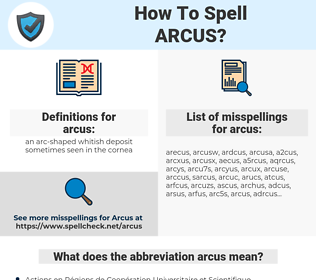 arcus, spellcheck arcus, how to spell arcus, how do you spell arcus, correct spelling for arcus