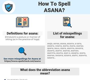 asana, spellcheck asana, how to spell asana, how do you spell asana, correct spelling for asana