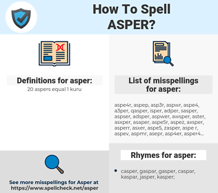 asper, spellcheck asper, how to spell asper, how do you spell asper, correct spelling for asper