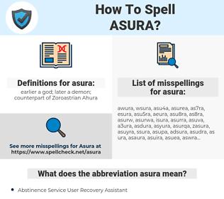 asura, spellcheck asura, how to spell asura, how do you spell asura, correct spelling for asura