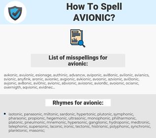 avionic, spellcheck avionic, how to spell avionic, how do you spell avionic, correct spelling for avionic