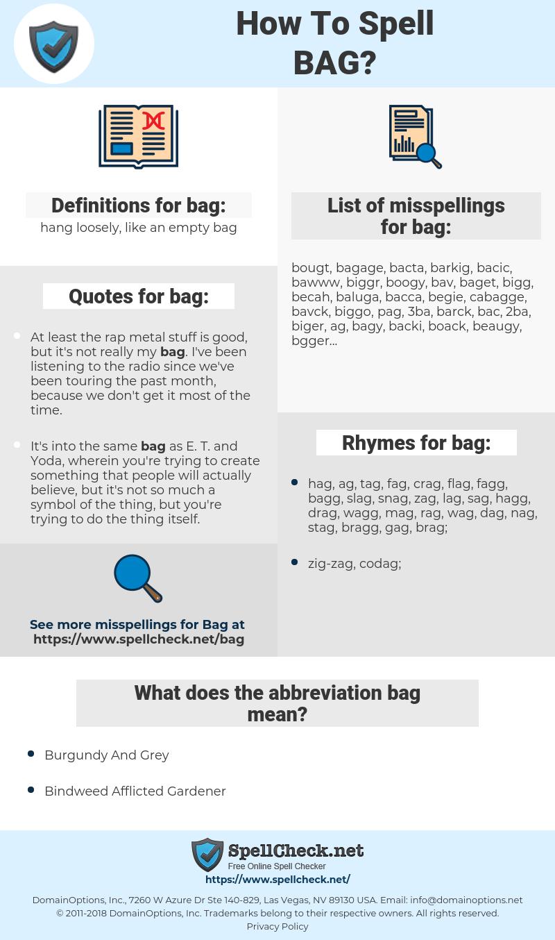 bag, spellcheck bag, how to spell bag, how do you spell bag, correct spelling for bag
