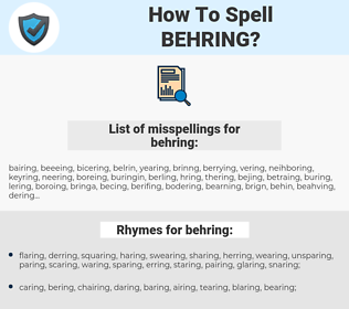 behring, spellcheck behring, how to spell behring, how do you spell behring, correct spelling for behring