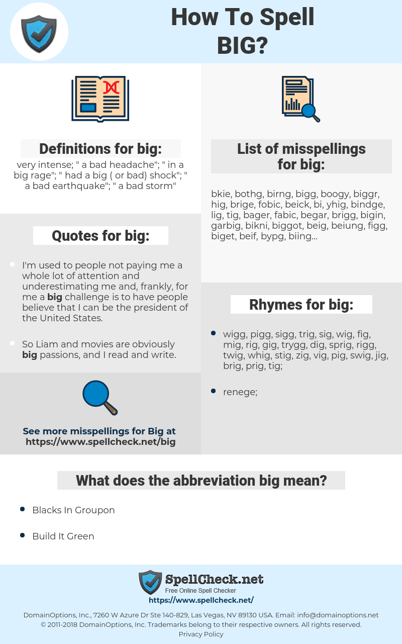 big, spellcheck big, how to spell big, how do you spell big, correct spelling for big