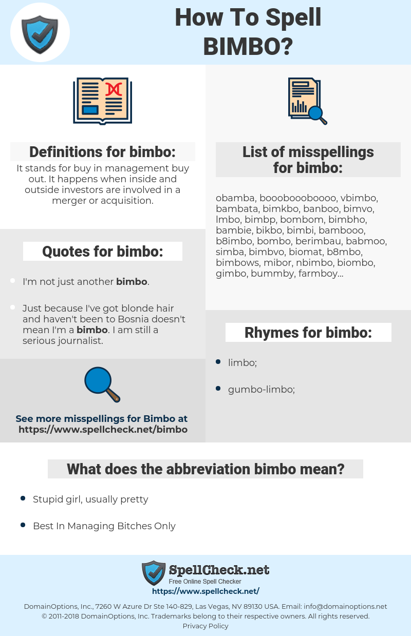 bimbo, spellcheck bimbo, how to spell bimbo, how do you spell bimbo, correct spelling for bimbo