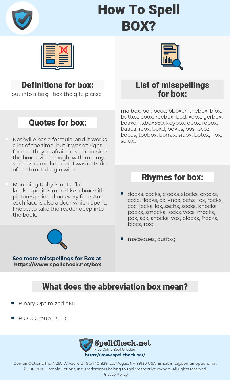 box, spellcheck box, how to spell box, how do you spell box, correct spelling for box
