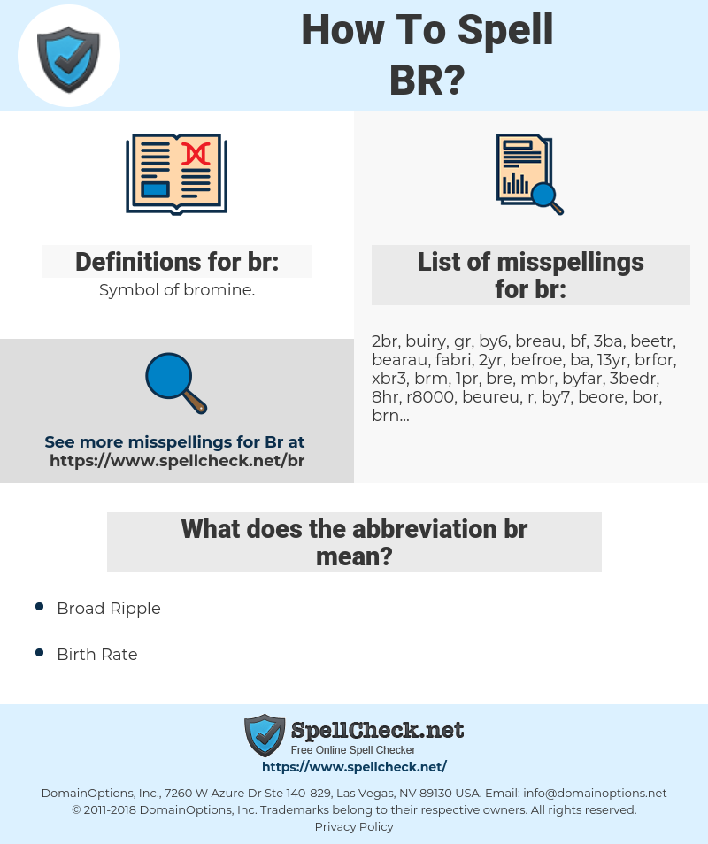 br, spellcheck br, how to spell br, how do you spell br, correct spelling for br