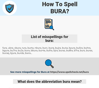 bura, spellcheck bura, how to spell bura, how do you spell bura, correct spelling for bura
