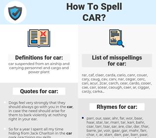 car, spellcheck car, how to spell car, how do you spell car, correct spelling for car