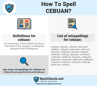 cebuan, spellcheck cebuan, how to spell cebuan, how do you spell cebuan, correct spelling for cebuan
