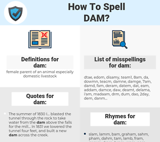 dam, spellcheck dam, how to spell dam, how do you spell dam, correct spelling for dam