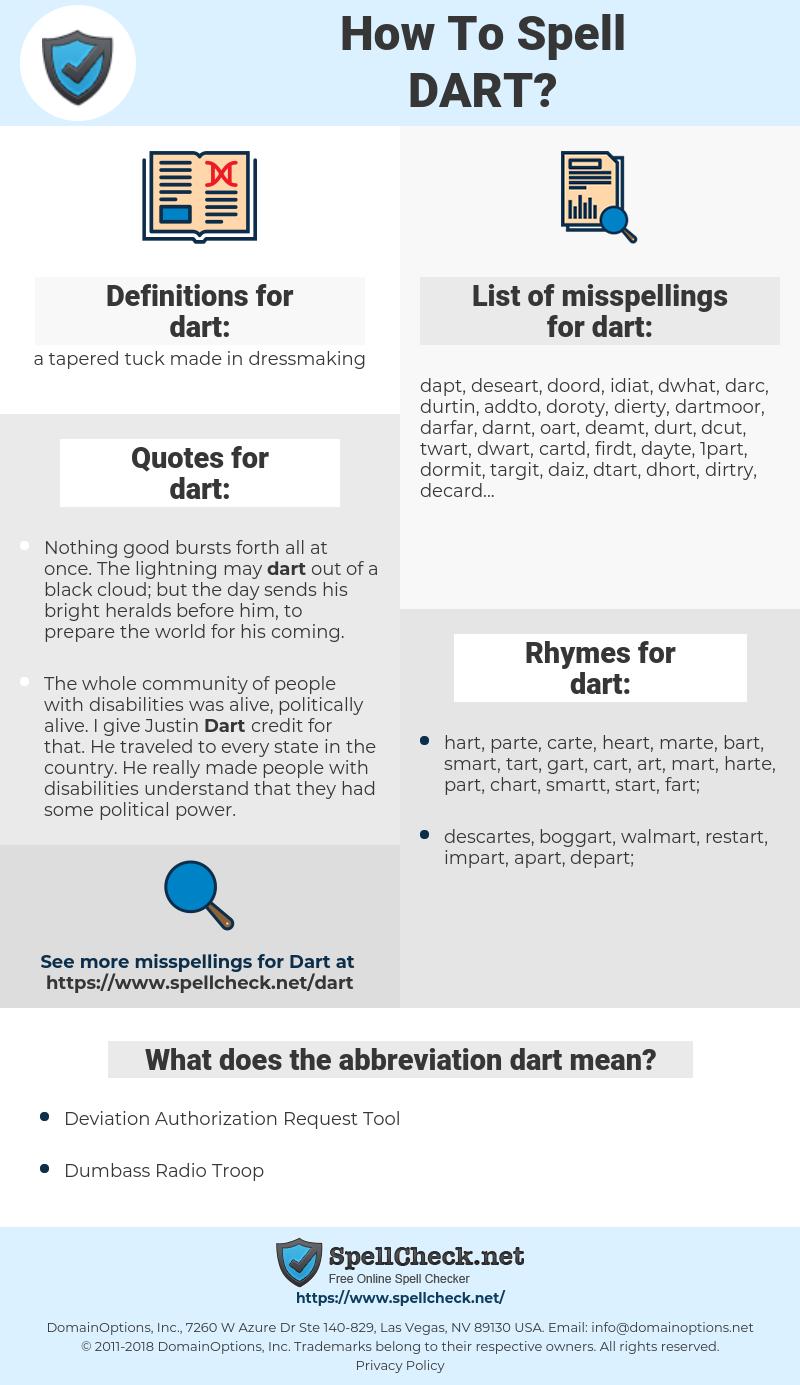 dart, spellcheck dart, how to spell dart, how do you spell dart, correct spelling for dart
