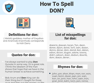don, spellcheck don, how to spell don, how do you spell don, correct spelling for don
