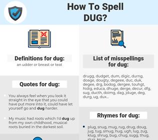 dug, spellcheck dug, how to spell dug, how do you spell dug, correct spelling for dug