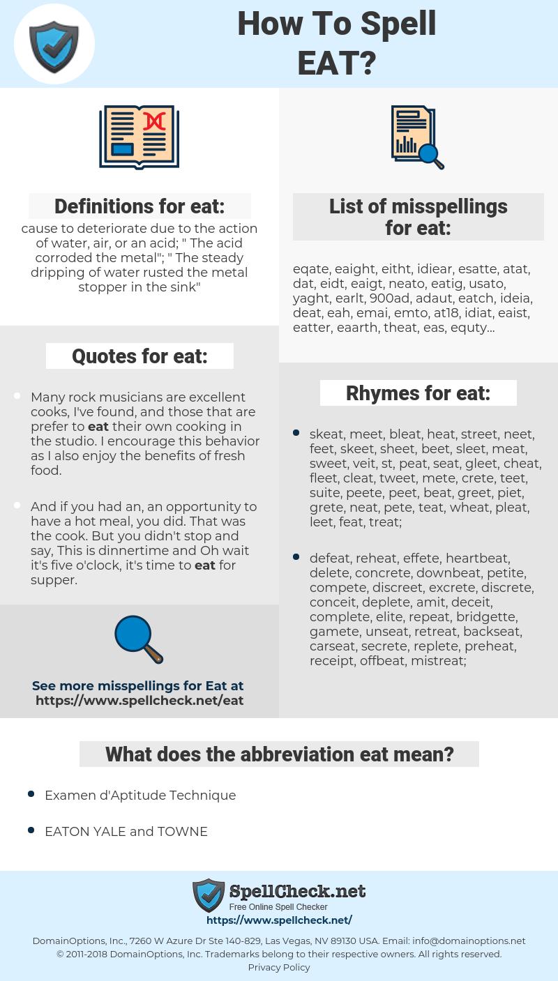 eat, spellcheck eat, how to spell eat, how do you spell eat, correct spelling for eat