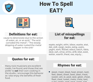 eat, spellcheck eat, how to spell eat, how do you spell eat, correct spelling for eat