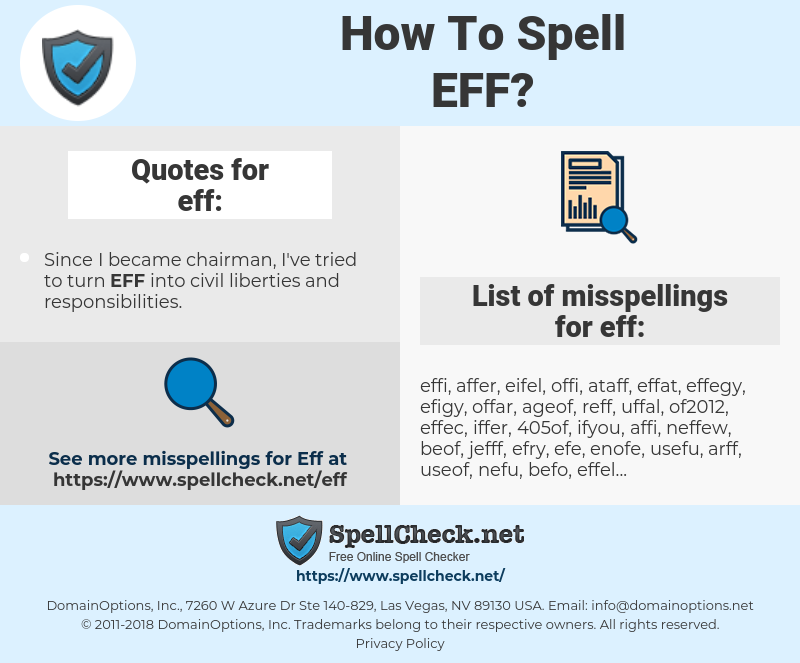 eff, spellcheck eff, how to spell eff, how do you spell eff, correct spelling for eff