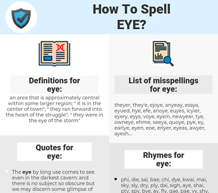 eye, spellcheck eye, how to spell eye, how do you spell eye, correct spelling for eye