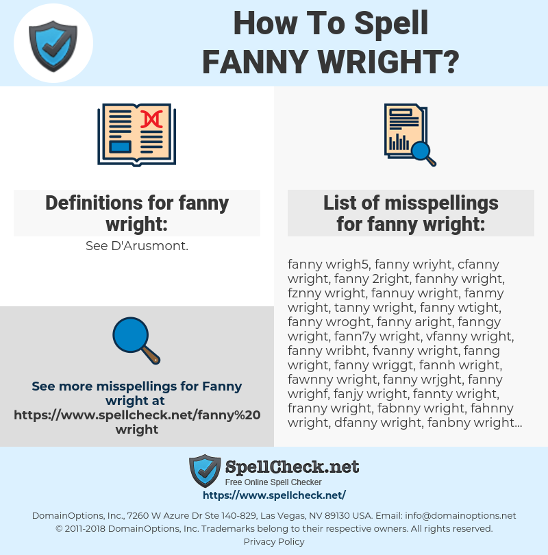 fanny wright, spellcheck fanny wright, how to spell fanny wright, how do you spell fanny wright, correct spelling for fanny wright