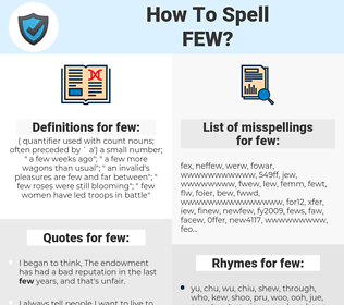 few, spellcheck few, how to spell few, how do you spell few, correct spelling for few