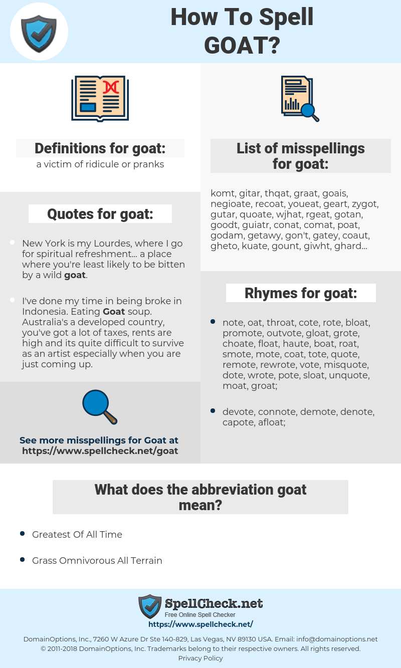 goat, spellcheck goat, how to spell goat, how do you spell goat, correct spelling for goat