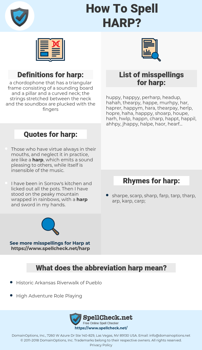 harp, spellcheck harp, how to spell harp, how do you spell harp, correct spelling for harp