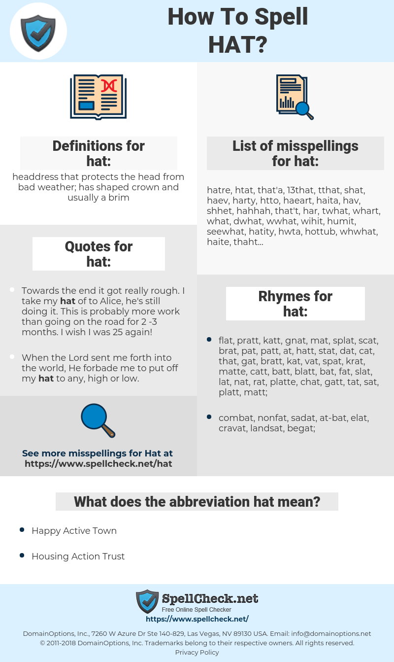 hat, spellcheck hat, how to spell hat, how do you spell hat, correct spelling for hat
