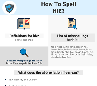 hie, spellcheck hie, how to spell hie, how do you spell hie, correct spelling for hie