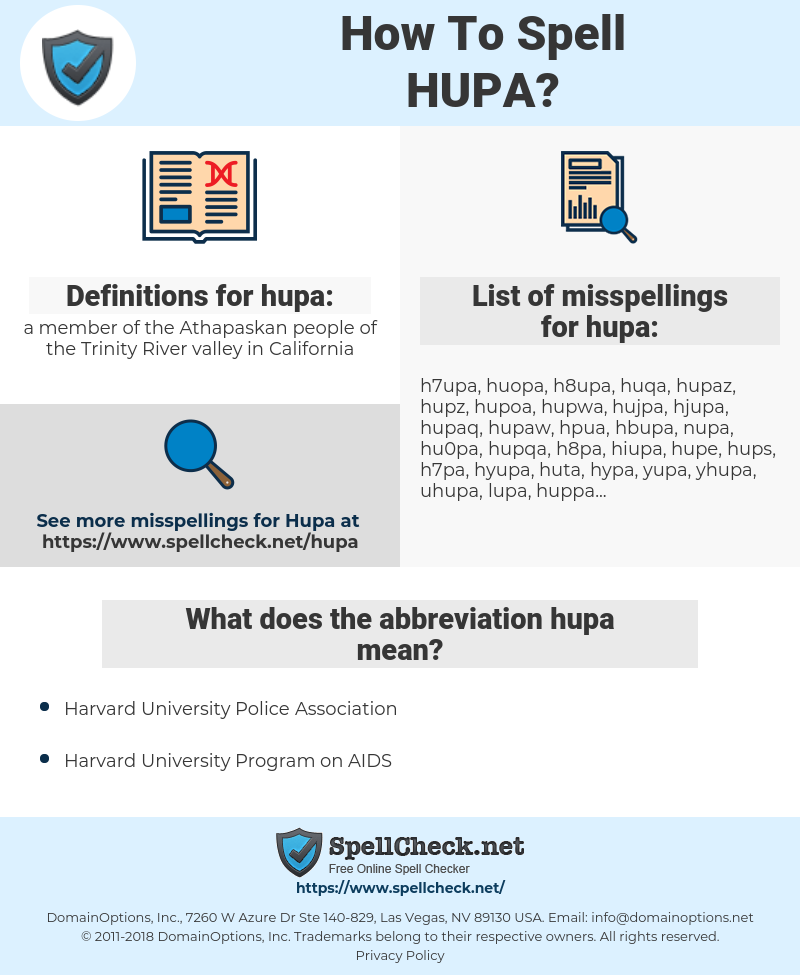 hupa, spellcheck hupa, how to spell hupa, how do you spell hupa, correct spelling for hupa