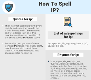 ip, spellcheck ip, how to spell ip, how do you spell ip, correct spelling for ip