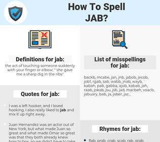 jab, spellcheck jab, how to spell jab, how do you spell jab, correct spelling for jab