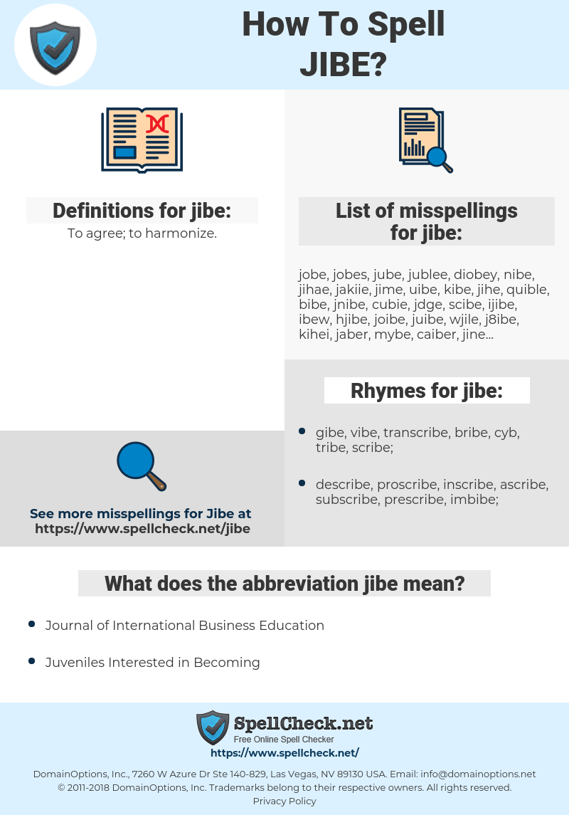How To Spell Jibe And How To Misspell It Too Spellcheck Net