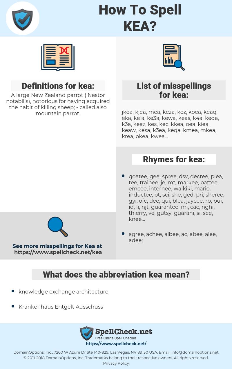 kea, spellcheck kea, how to spell kea, how do you spell kea, correct spelling for kea