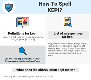 kepi, spellcheck kepi, how to spell kepi, how do you spell kepi, correct spelling for kepi