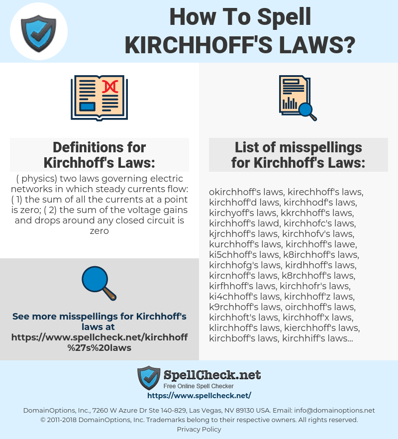 How To Spell Kirchhoff's laws (And How To Misspell It Too