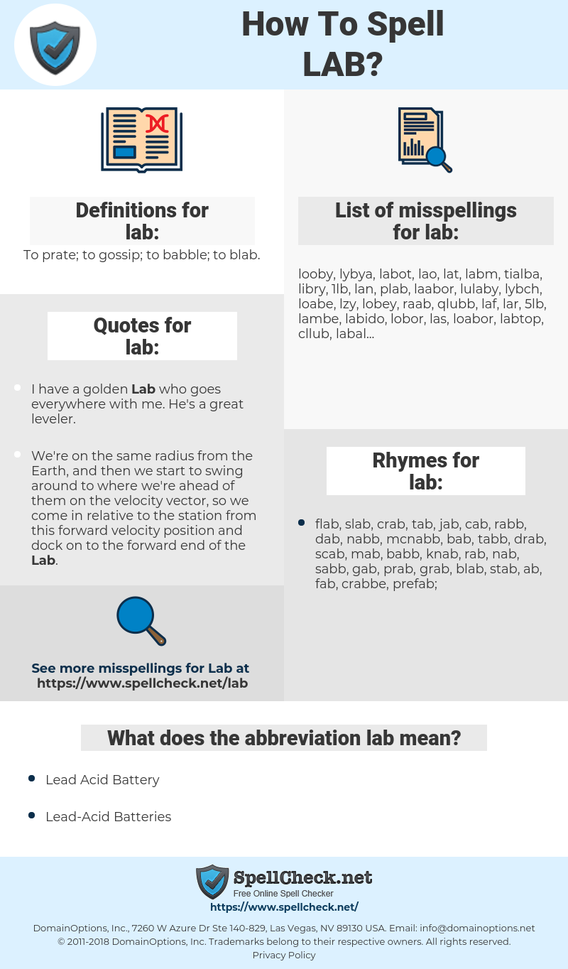 lab, spellcheck lab, how to spell lab, how do you spell lab, correct spelling for lab