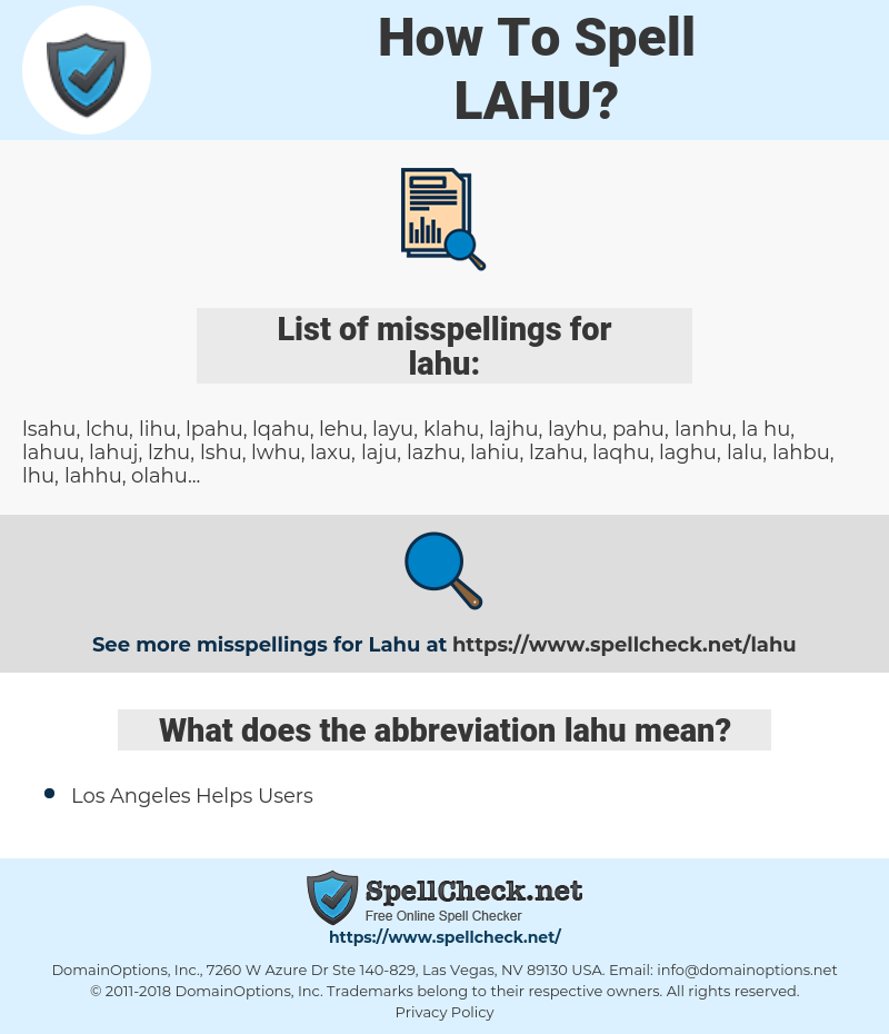 lahu, spellcheck lahu, how to spell lahu, how do you spell lahu, correct spelling for lahu